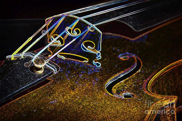 Photograph - Drawing Viola Violin String Bridge Close In Color 3076.04 by M K Miller
