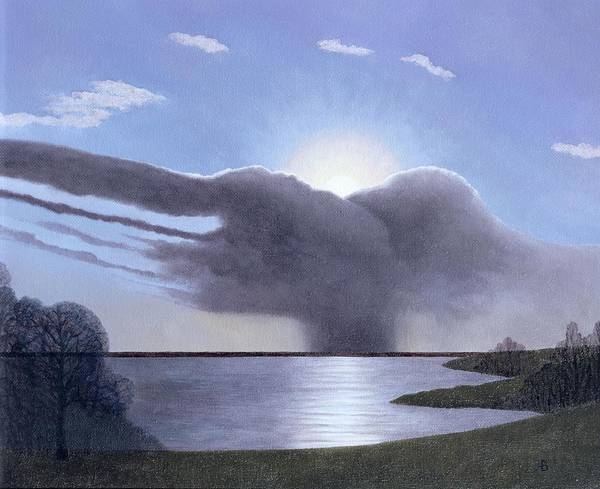 English Countryside Photograph - Draycote Cloud, 2004 Oil On Canvas by Ann Brain