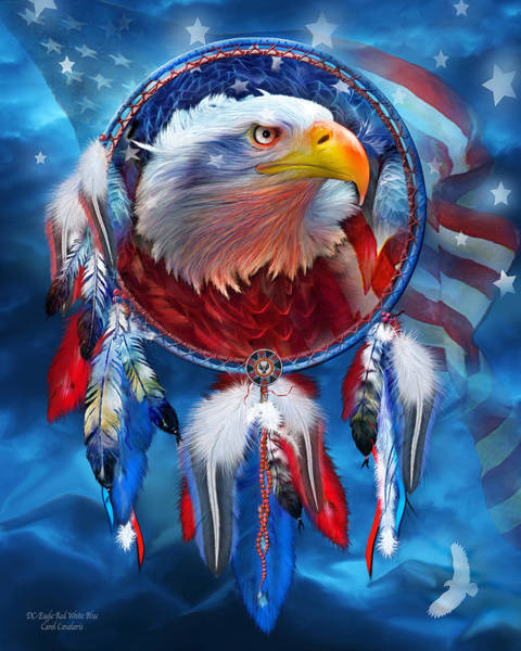 Native Mixed Media - Dream Catcher - Eagle Red White Blue by Carol Cavalaris