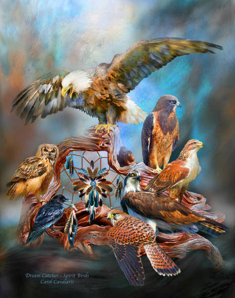 Native Mixed Media - Dream Catcher - Spirit Birds by Carol Cavalaris