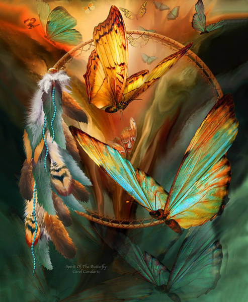 Native Mixed Media - Dream Catcher - Spirit Of The Butterfly by Carol Cavalaris