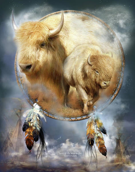 Native Mixed Media - Dream Catcher - Spirit Of The White Buffalo by Carol Cavalaris