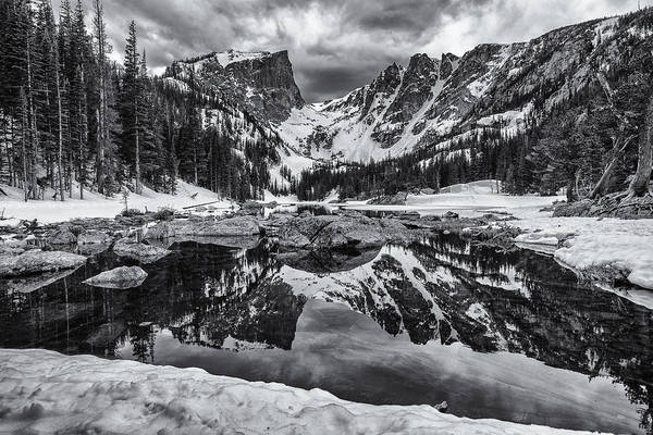 Wall Art - Photograph - Dream Lake Morning Monochrome by Darren  White