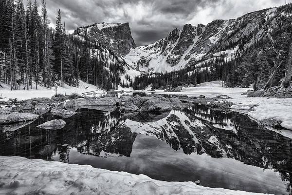 Photograph - Dream Lake Morning Monochrome by Darren  White