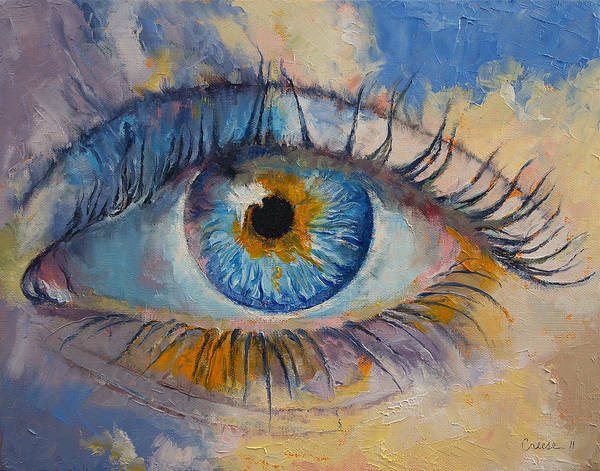 Oil Pastel Painting - Eye by Michael Creese