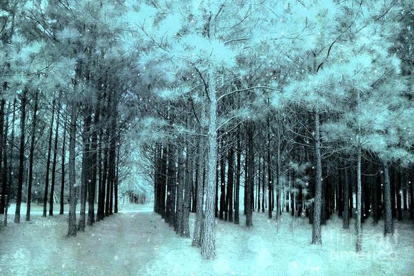 Aqua Green Photograph - Fairy Tale Aqua Mint Teal Fantasy Fairytale Trees Woodlands Stars by Kathy Fornal