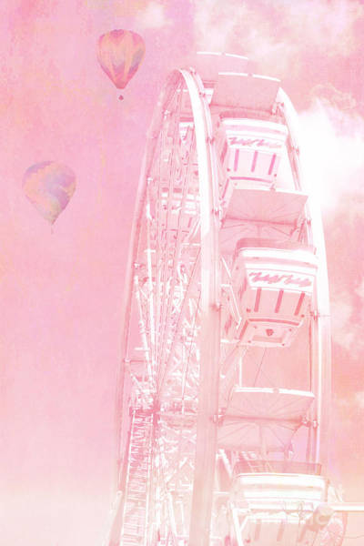 Whimsical Photograph - Dreamy Baby Pink Ferris Wheel Carnival Art With Hot Air Balloons by Kathy Fornal