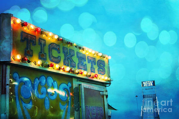 Ticket Photograph - Dreamy Carnival Festival Ticket Booth Stand - Teal Aquamarine Blue Carnival Festival Fun Slide Photo by Kathy Fornal