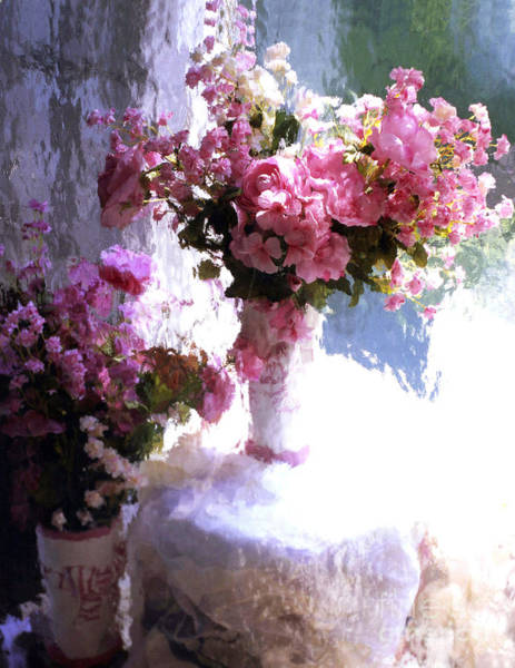 Shabby Chic Roses Wall Art - Digital Art - Dreamy Cottage Chic Impressionistic Flowers - Pink Roses Pink Vases by Kathy Fornal