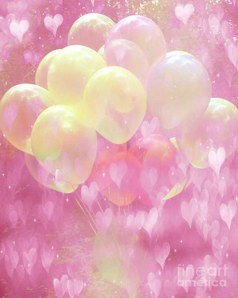 Art Fair Photograph - Dreamy Fantasy Whimsical Yellow Pink Balloons With Hearts  by Kathy Fornal