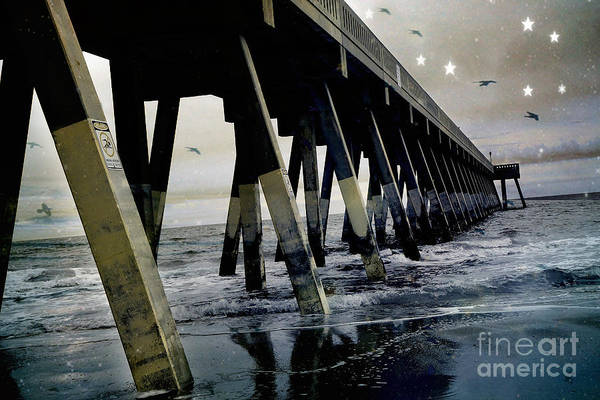 Wrightsville Beach Wall Art - Photograph - Dreamy Haunting Ocean Coastal Pier With Stars And Birds by Kathy Fornal