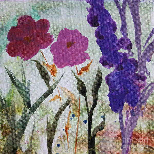 Painting - Dreamy Pink And Purple Flowers by Robin Maria Pedrero