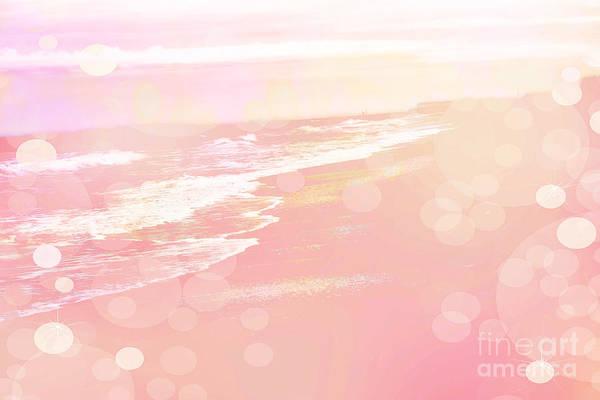 Wrightsville Beach Wall Art - Photograph - Dreamy Pink Beach Ocean Coastal Wrightsville Beach North Carolina - Surreal Pink Bokeh Ocean Waves by Kathy Fornal