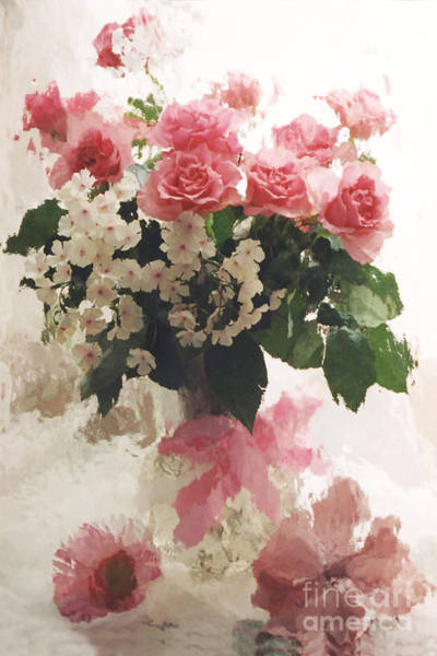 Impressionistic Photograph - impressionistic Watercolor Roses in Vintage Antique Vase - Pink and White Vintage Roses by Kathy Fornal