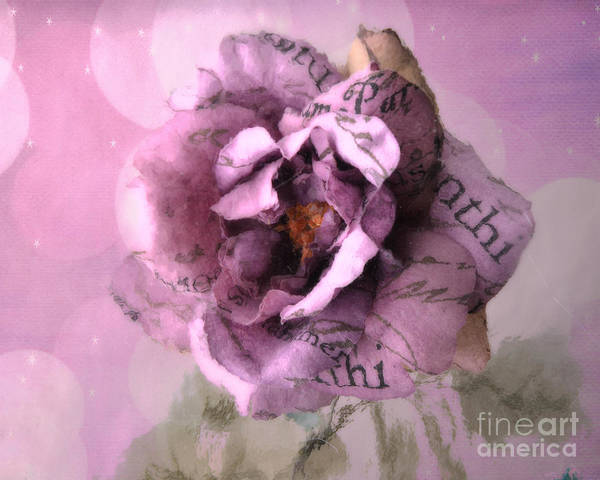 Impressionistic Photograph - Purple Pink Lavender Impressionistic Rose - Shabby Chic Cottage Purple Lavender Rose Floral Print by Kathy Fornal