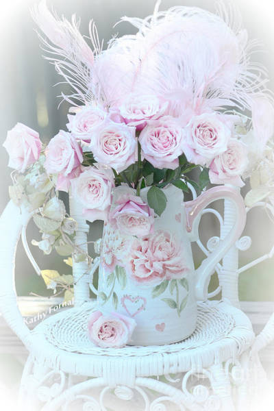 Wall Art - Photograph - Dreamy Romantic Pink Bouquet Of Baby Pink Roses On White Chair Cottage Garden Art by Kathy Fornal