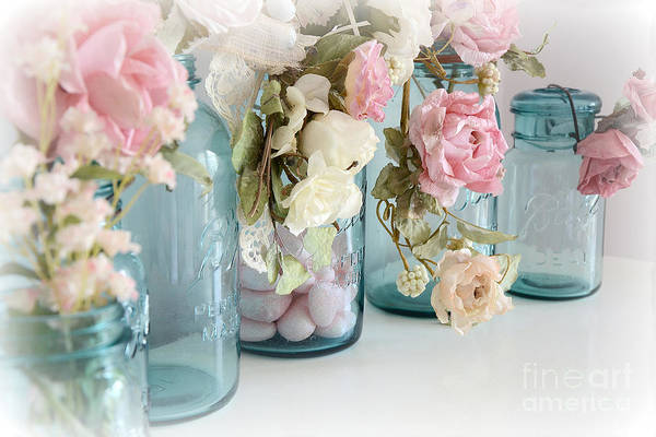 Chic Photograph - Shabby Chic Roses Blue Aqua Ball Mason Jars - Roses In Aqua Blue Mason Jars - Shabby Chic Decor by Kathy Fornal