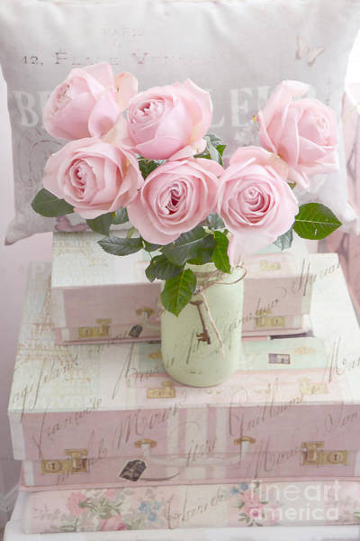 Impressionistic Photograph - Shabby Chic Cottage Pink Romantic Roses, Paris Pink Roses Shabby Chic Prints Home Decor by Kathy Fornal