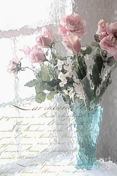 Wall Art - Photograph - Dreamy Shabby Chic Pastel Flowers - Romantic Impressionistic Paris Roses And Tulips by Kathy Fornal