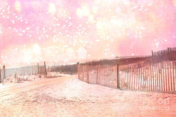 Myrtle Beach Wall Art - Photograph - Dreamy Shabby Chic Pink Beach Coastal Art With Hearts And Bokeh Circles - Pastel Pink Beach Art by Kathy Fornal