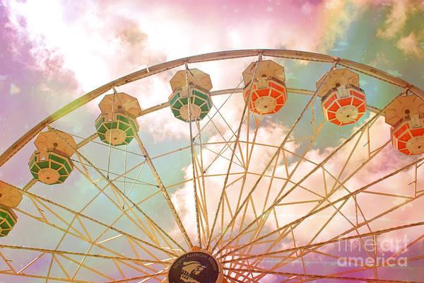 Ferris Wheel Photograph - Carnival Fair Festival Ferris Wheel - Dreamy Pink Ferris Wheel Carnival Festival Rides by Kathy Fornal