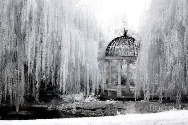 Infrared Photograph - Dreamy Surreal Infrared Nature Ethereal Trees With Gazebo  by Kathy Fornal