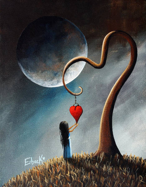 Red Moon Painting - Dreamy Surreal Original Landscape Painting  by Erback Art