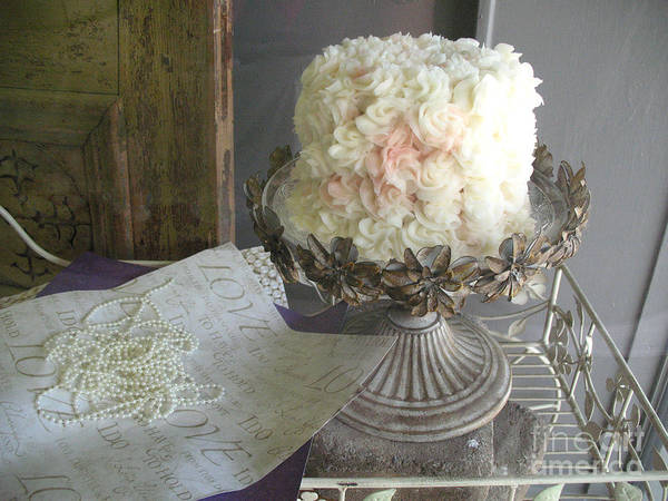 Wedding Cake Photograph - Dreamy White Wedding Cake On Vintage Pedestal Stand - Beautiful Shabby Chic White Wedding Cake  by Kathy Fornal