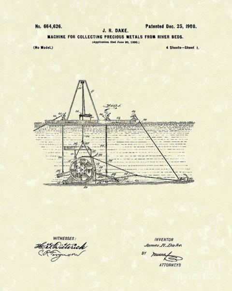 Drawing - Dredger 1900 Patent Art by Prior Art Design