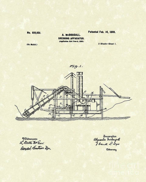 Sand Drawing - Dredging Apparatus 1899 Patent Art by Prior Art Design
