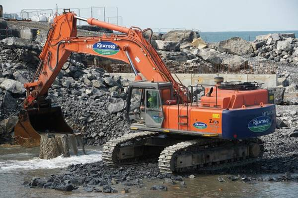 Bucket Photograph - Dredging For A New Jetty At Doolin by Sinclair Stammers