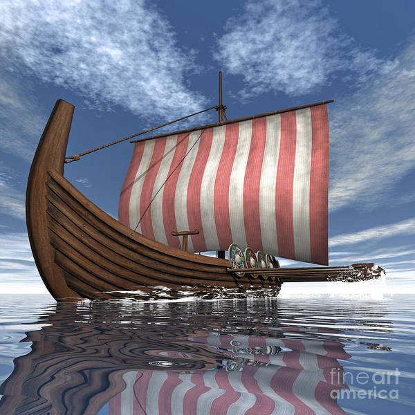 Oar Digital Art - Drekar Viking Ship Navigating The Ocean by Elena Duvernay