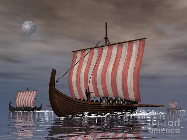Oar Digital Art - Drekar Viking Ships Navigating by Elena Duvernay