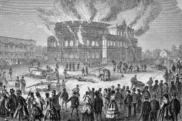 Fire House Photograph - Dresden Opera House On Fire by Bildagentur-online/tschanz