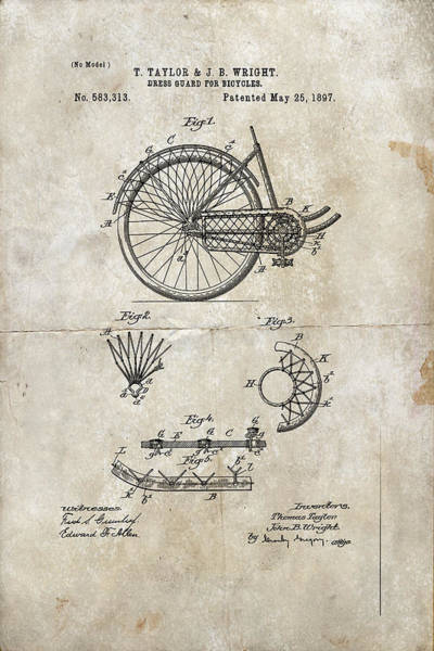 Digital Art - Dress Guard For Bicycles Patent 1897 by Paulette B Wright