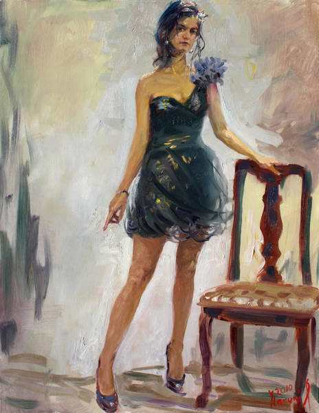 Figure Painting - Dressed Up Girl by Ylli Haruni