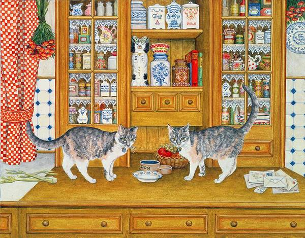 Drawers Painting - Dresser Cats by Ditz