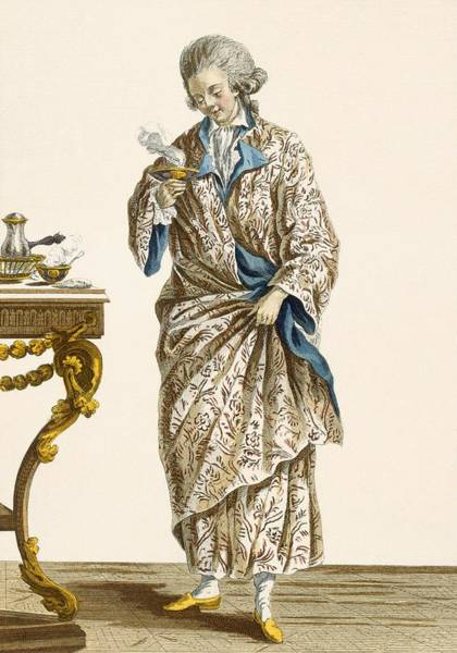 Gentleman Drawing - Dressing Gown In Printed Cotton by Pierre Thomas Le Clerc