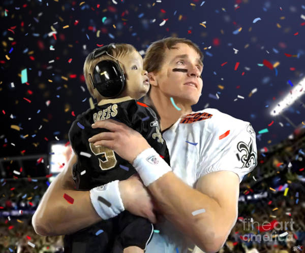 Victorious Painting - Drew Brees by Paul Tagliamonte