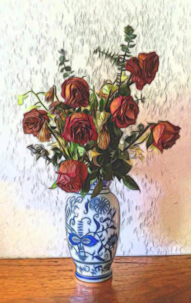 Mixed Media - Dried Roses In Vase by Pamela Walton