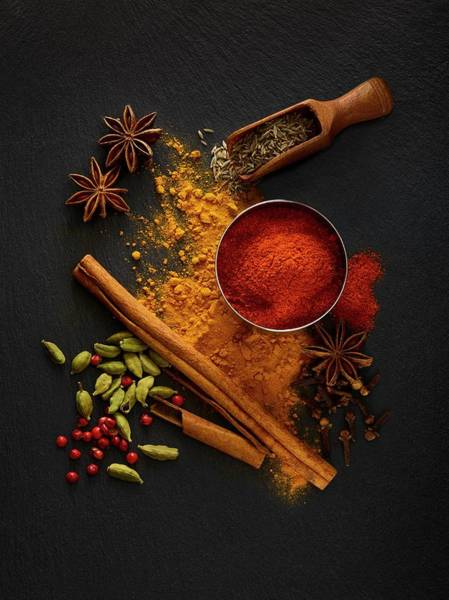 Wall Art - Photograph - Dried Spices On Black Slate by Science Photo Library