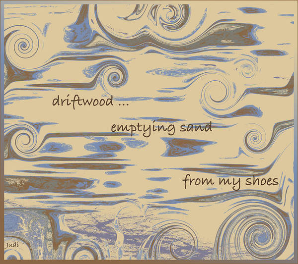 Digital Art - Driftwood Haiga by Judi Suni Hall