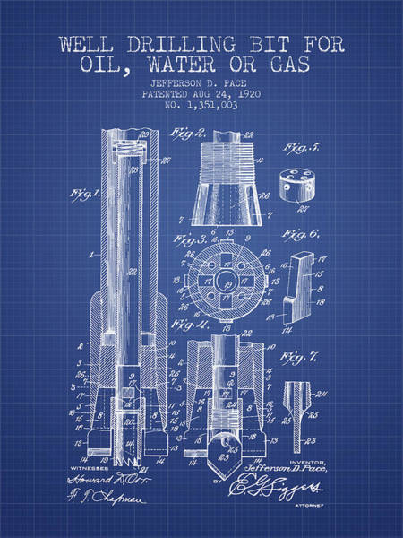 Drilling Wall Art - Digital Art - Drilling Bit For Oil Water Gas Patent From 1920 - Blueprint by Aged Pixel