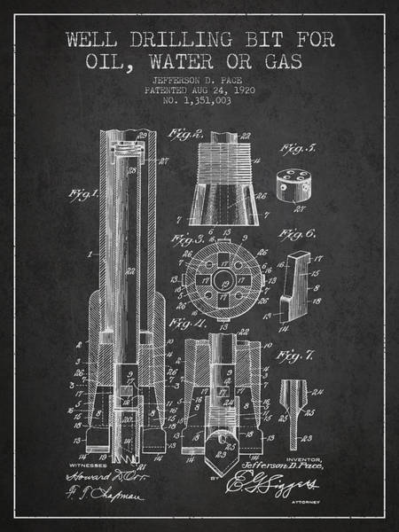 Drilling Wall Art - Digital Art - Drilling Bit For Oil Water Gas Patent From 1920 - Dark by Aged Pixel