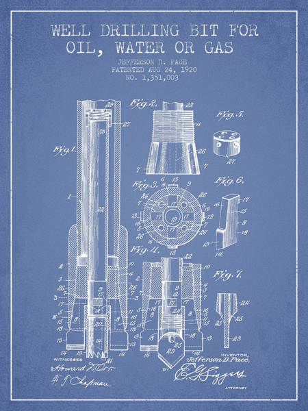 Drilling Wall Art - Digital Art - Drilling Bit For Oil Water Gas Patent From 1920 - Light Blue by Aged Pixel