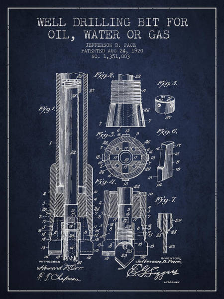 Intellectual Property Wall Art - Digital Art - Drilling Bit For Oil Water Gas Patent From 1920 - Navy Blue by Aged Pixel