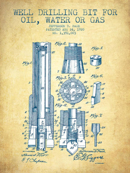 Drilling Wall Art - Drawing - Drilling Bit For Oil Water Gas Patent From 1920 - Vintage Paper by Aged Pixel