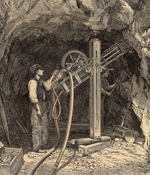 1863 Photograph - Drilling Machine With Diamond Bit by Universal History Archive/uig