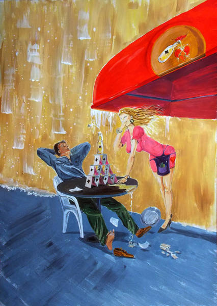 Wall Art - Painting - Drink And Play by Lazaro Hurtado