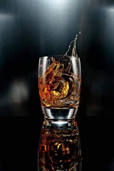 Motion Photograph - Drink Ice Cube Splash On Black by Chris Stein